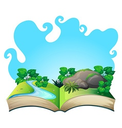Book with nature scene vector