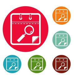 Calendar search icons circle set vector