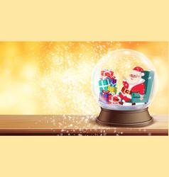 christmas greeting card snow globe santa vector image