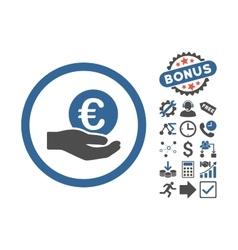 Euro salary hand flat icon with bonus vector