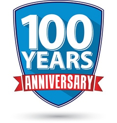 Flat design 100 years anniversary label with red vector