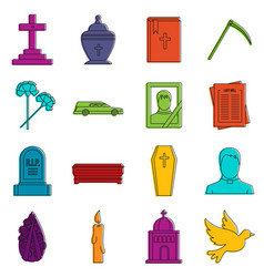 Funeral icons doodle set vector