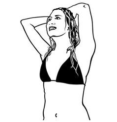 Girl in bathing suit vector
