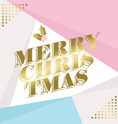 Gold merry christmas greeting card design vector