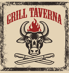 Grill taverna bull head with two crossed knives vector