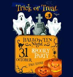 halloween holiday trick treat horror party poster vector image