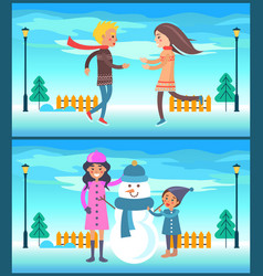 happy couple boy and girl running mother snowman vector image vector image