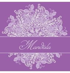 mandala Violet background White ornament vector image vector image