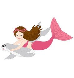 Mermaid And Seal vector image vector image