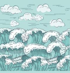 ocean waves seamless pattern hand drawn vector image vector image