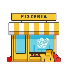 pizzeria building flat line concept vector image vector image