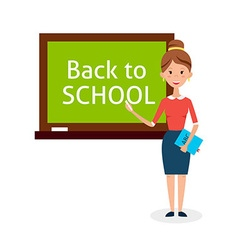 School woman teacher with chalkboard vector