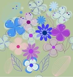 Seamless retro flower background vector image vector image