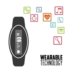 Smart watch wearable technology heart healthy vector
