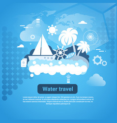water travel web banner with copy space on blue vector image vector image