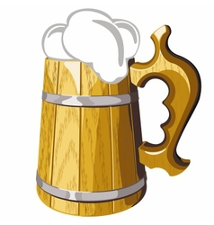 Wooden beer mug no mash no gradient vector