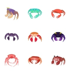 Crayfish icons set cartoon style vector