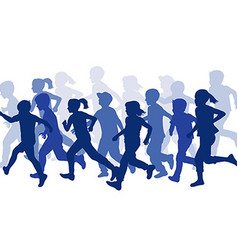 Group of children silhouettes running vector image