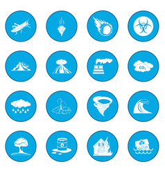 Natural disaster icon blue vector