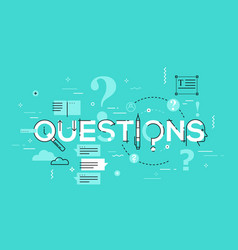Thin line design concept for questions website vector