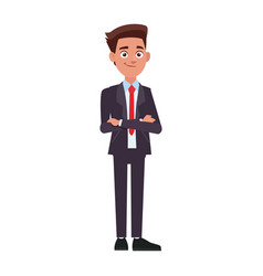 young and successful business man cartoon employee vector image