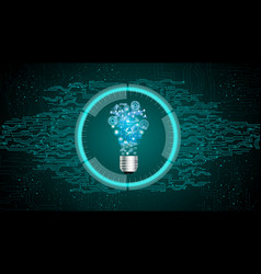 Light bulb on blue abstract technology background vector