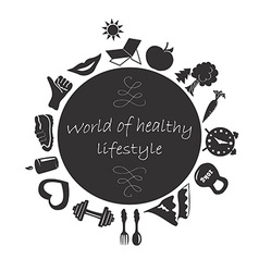World of healthy lifestyle vector