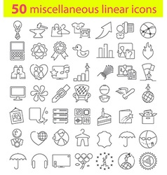 Fifty linear icons bundle vector