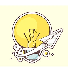 Paper plane flying around yellow lightbul vector