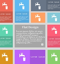 Faucet glass water icon sign set of multicolored vector