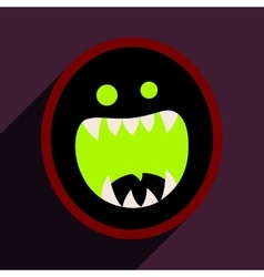 Flat with shadow icon toothy monster bright vector