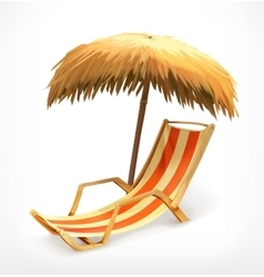 Beach umbrella and lounge chair vector