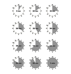 Set of time second stopwatch design flat vector