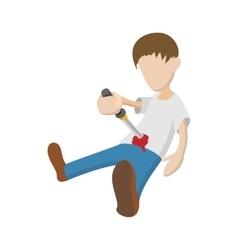 Man suiciding hisself icon cartoon style vector