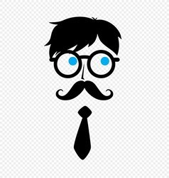 Geek nerd guy with mustache vector
