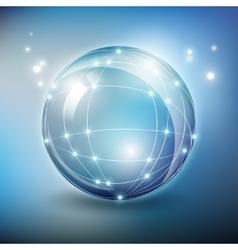 Abstract glass sphere network with vector image