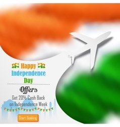 Airplane offer for Independence Day of India vector image vector image