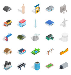 Architecture icons set isometric style vector