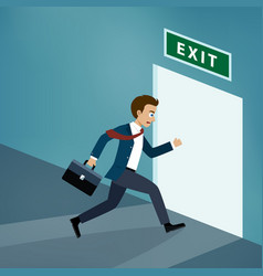 Businessman runs to exit door vector