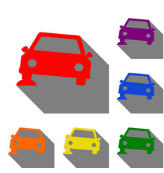 car parking sign set of red orange yellow vector image