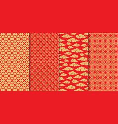 chinese pattern set decorative background vector image
