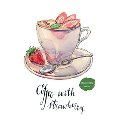 Cup of coffee with milk mint and strawberries vector