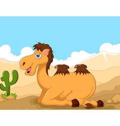 Cute camel cartoon sitting in the desert vector