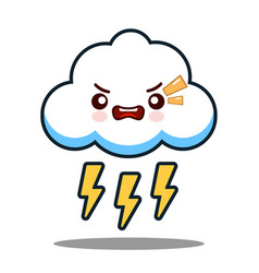 Cute cloud lightning bolt kawaii face icon cartoon vector