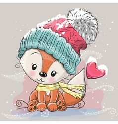Cute Fox in a knitted cap vector image