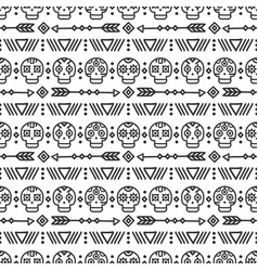 Day of the dead tribal hand drawn line mexican vector
