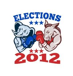 Democrat donkey republican elephant mascot 2012 vector