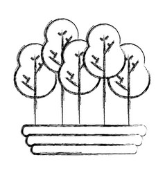 Figure naturals trees with branches ecology care vector