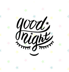 good night word written in calligraphy style vector image vector image
