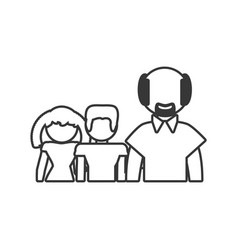 Grandfather and grandchildren together outline vector